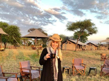 Mary Jean visiting Singita Explore Lodge in Tanzania