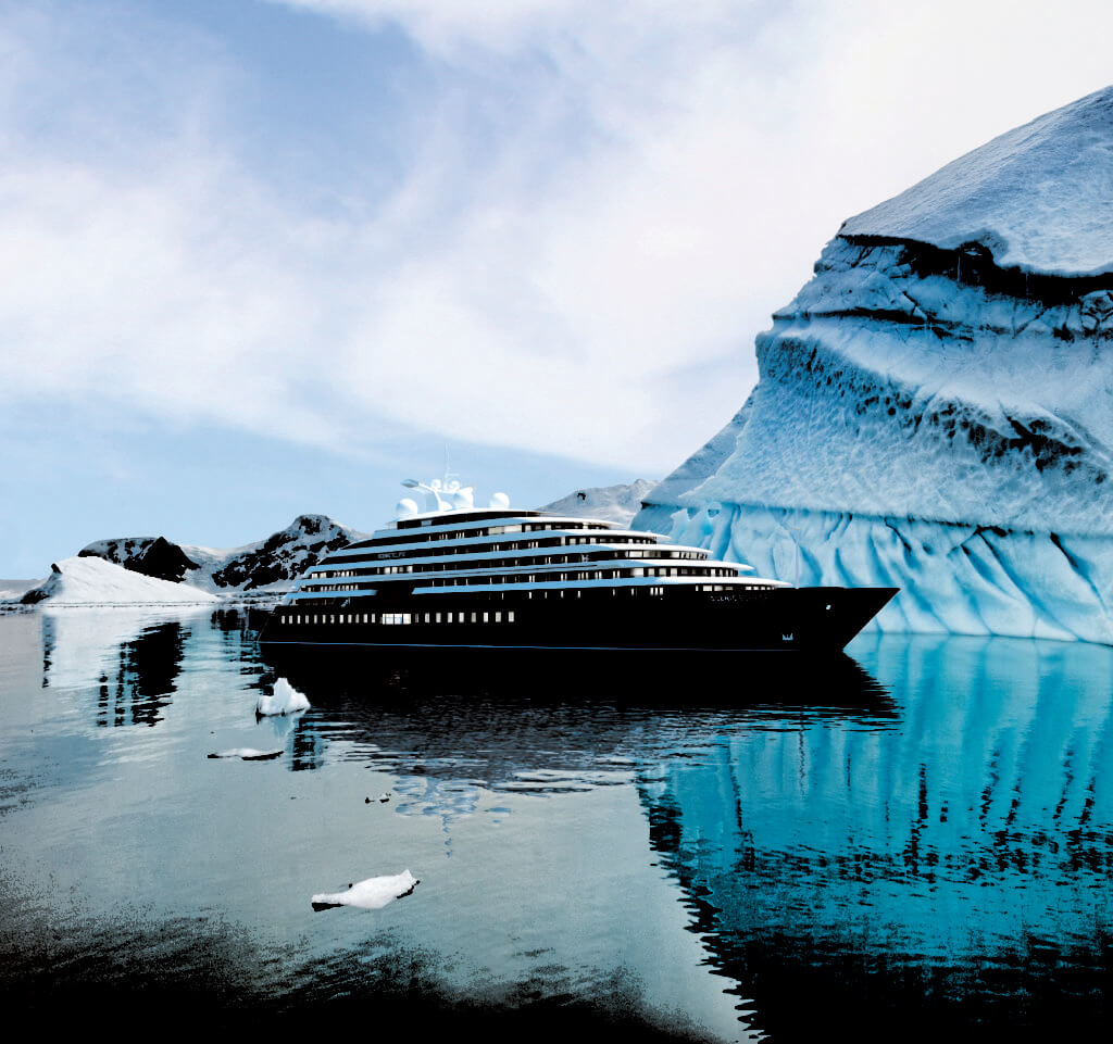 Expedition Cruising: Scenic Cruise Ship sailing near an iceberg