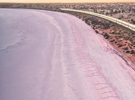 Indian Pacific-heading-north-just-after-dawn-past-the-salt-expanse-of-Lake-Hart-north-of-Woomera