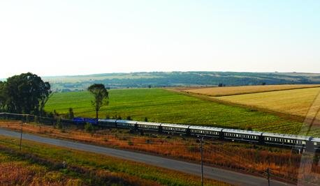 Rovos train travelling across the open plain